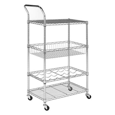 Chrome Mail Cart - Safavieh Happimess Carmen 4-Tier Chrome Wire Adjustable Cart