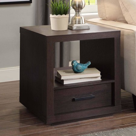 Better Homes & Gardens Steele End Table With Drawer, Espresso Finish ()