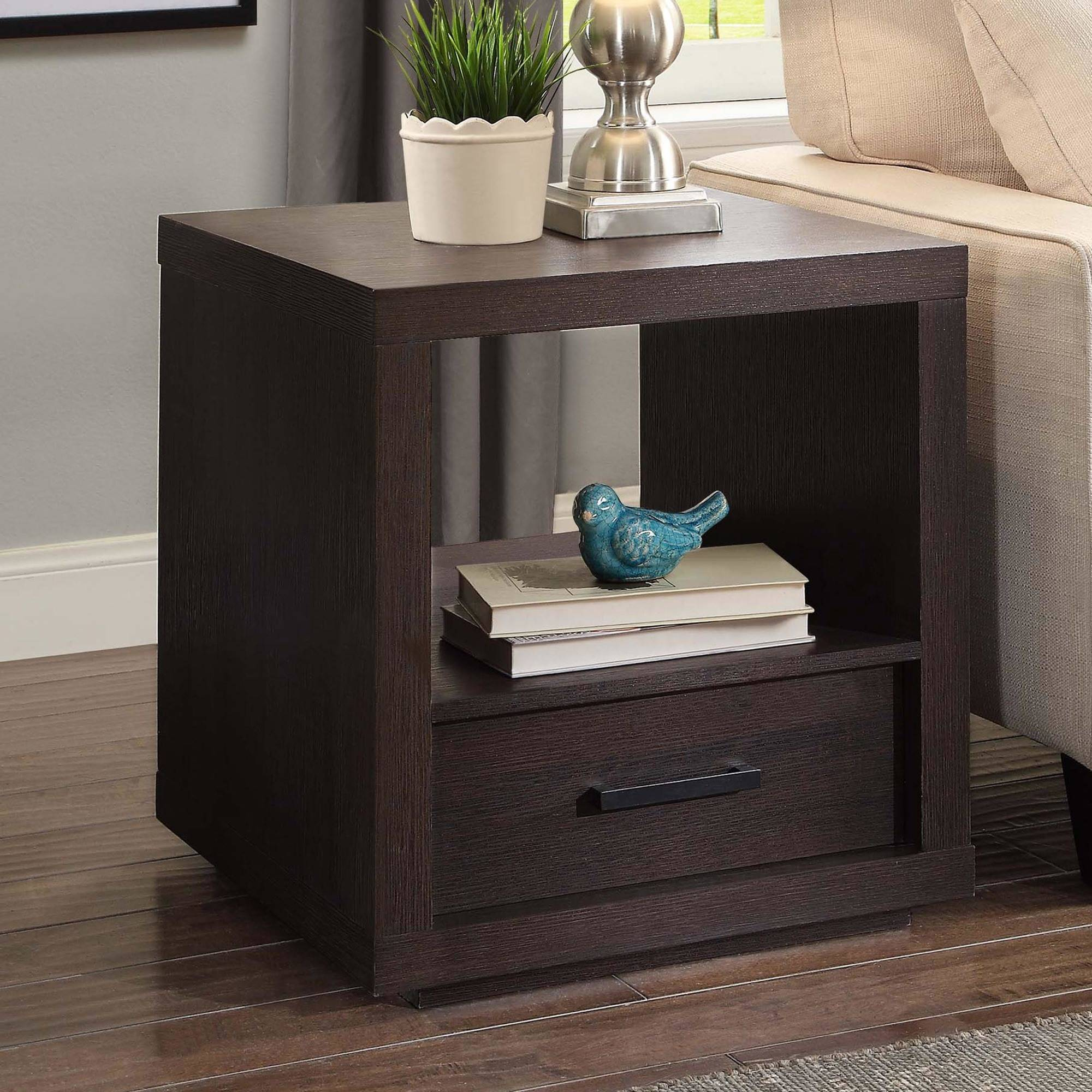 Better Homes & Gardens Steele End Table With Drawer, Espresso Finish