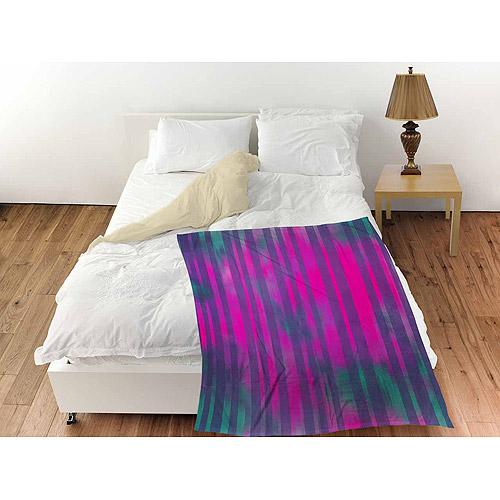 """Thumbprintz Stripes Pink Turquoise Coral Fleece Throw, 30"""" x 40"""""""