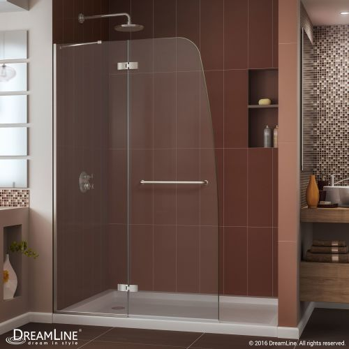 DL-6523C-04CL Aqua Ultra Frameless Hinged Shower Door and SlimLine 36 by 60 Single Threshold Shower Base Center Drain