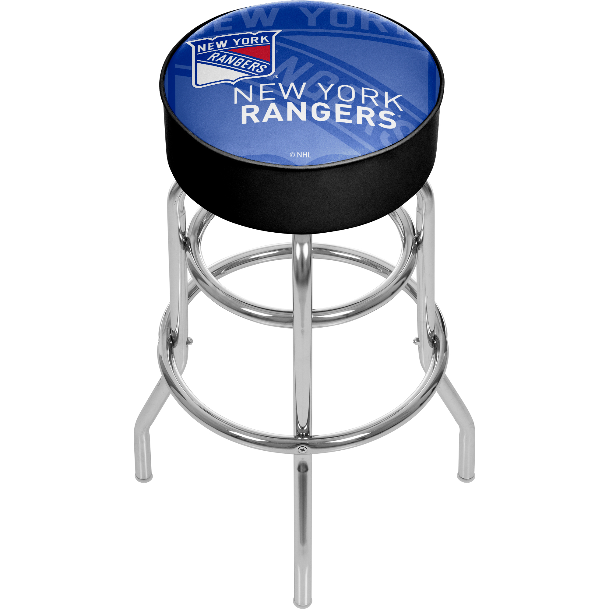 NHL Chrome Bar Stool with Swivel - Watermark - New York Rangers