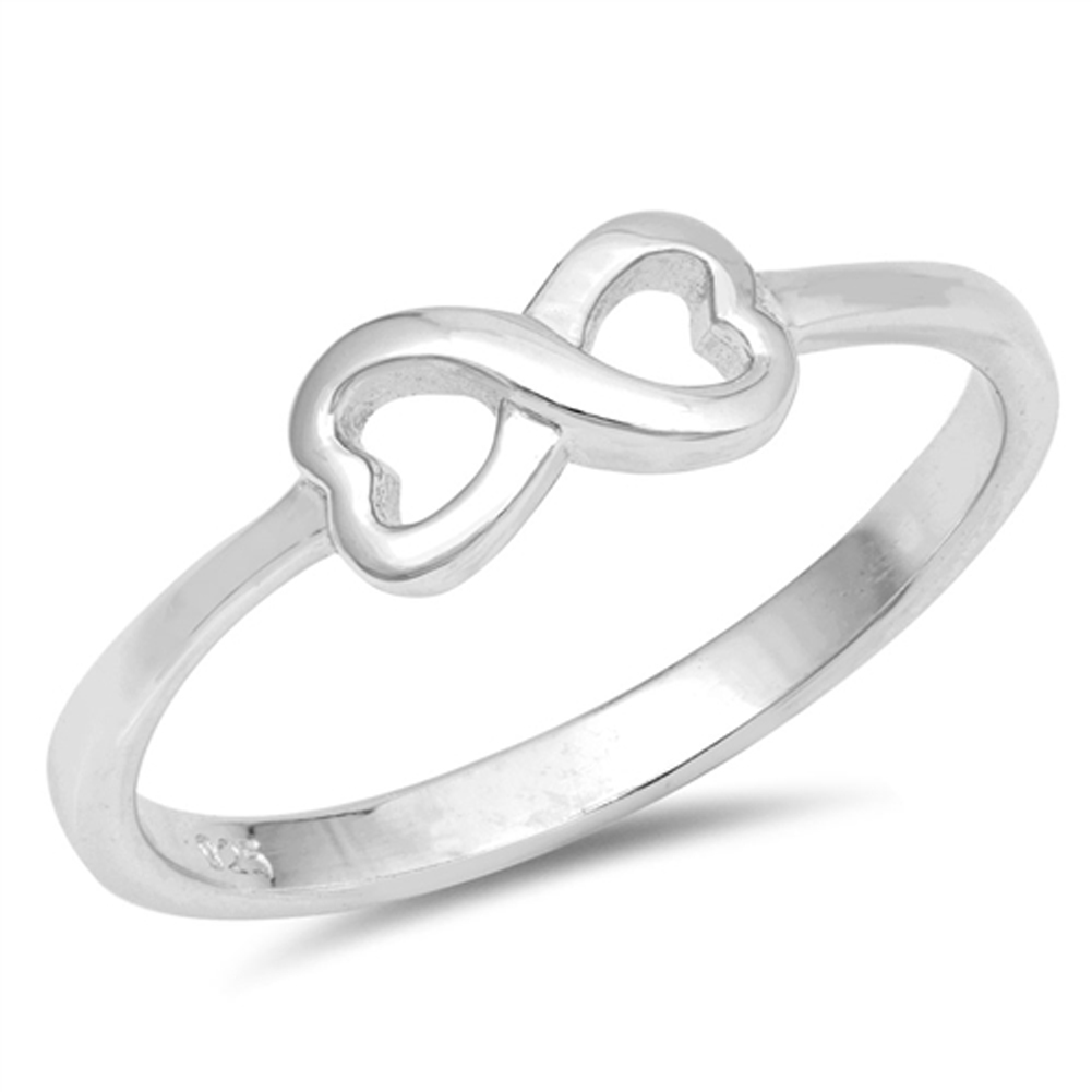 Double Heart Promise Ring New .925 Sterling Silver Infinity Band