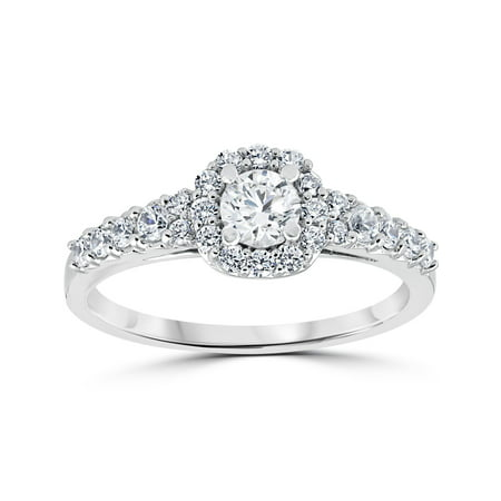 3/4 Ct Cushion Halo Round Diamond Engagement Ring 14K White Gold Solitaire Cushion Diamond Engagement Solitaire Ring