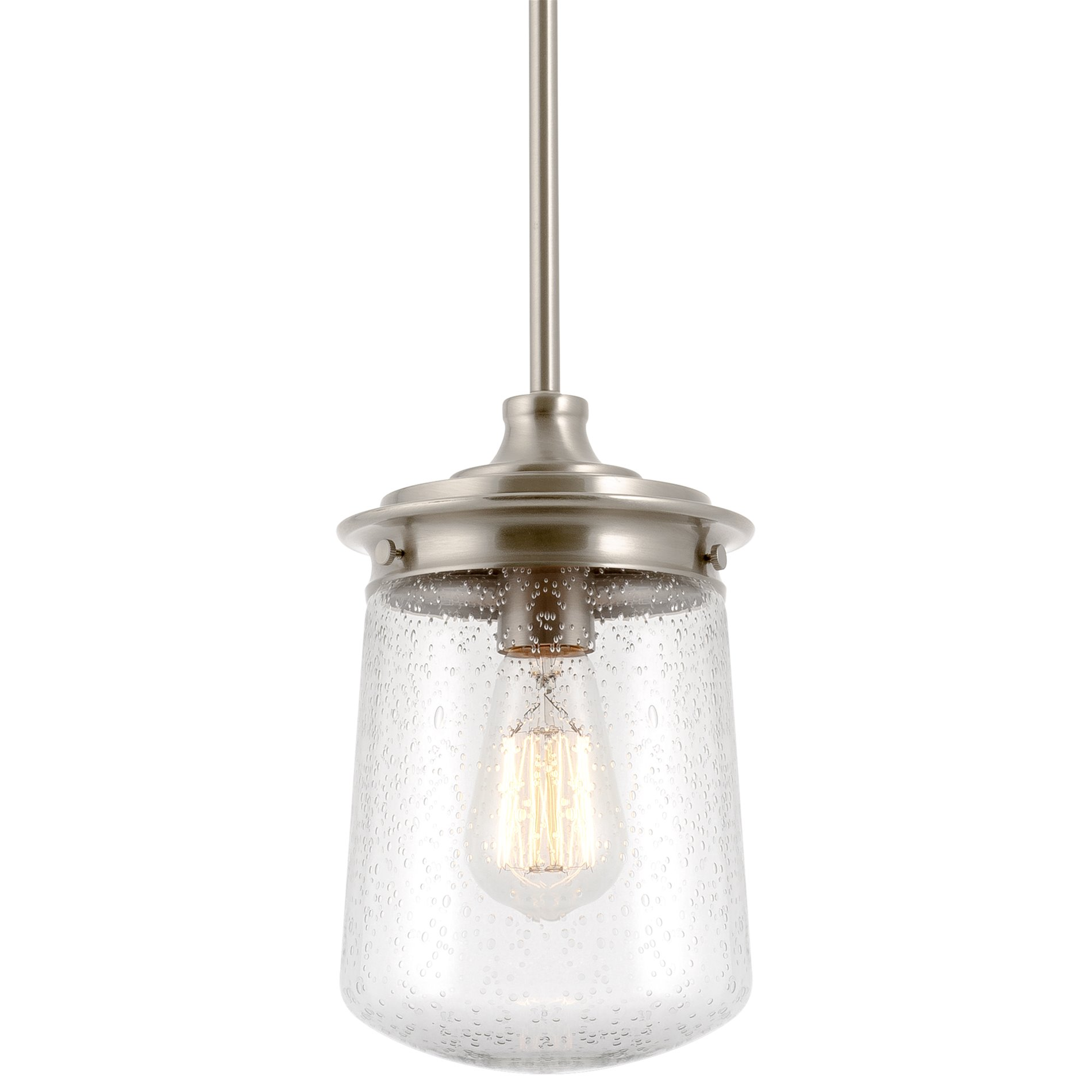 Picture of: Kira Home Mason 10 5 Industrial Pendant Light Seeded Glass Shade Brushed Nickel Finish Walmart Com Walmart Com