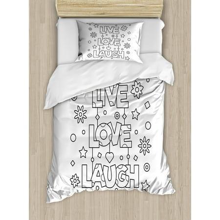 Live Laugh Love Twin Size Duvet Cover Set Doodle Style