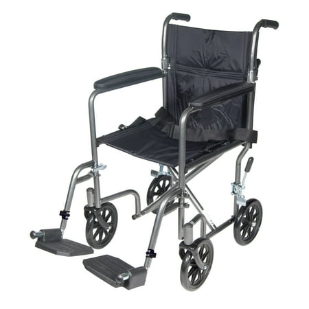 Drive Medical Lightweight Steel Transport Wheelchair, Fixed Full Arms, 17