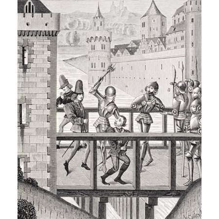 Assassination Of The Duke Of Burgundy John The Fearless 1371 To 1419 On The Bridge Of Montereau Copy Of Miniature In The 15Th Century Chronicles Of Monstrelet Canvas Art   Ken Welsh  Design Pics  26 X