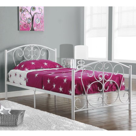 Monarch specialties white metal twin size bed frame only for White metal twin bed frame