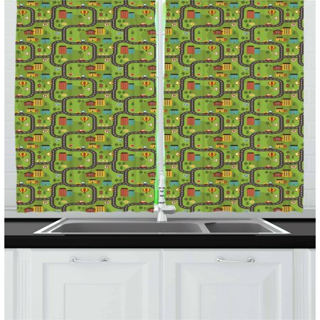 Kid's Car Race Track Roadway Activity Curtains 2 Panels Set, Cartoon Style Illustration with Buildings Roadworks, Window Drapes for Living Room Bedroom, 55W X 39L Inches, Multicolor, by