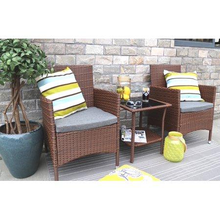 Baner Garden Outdoor Furniture Complete Patio Cushion PE Wicker Rattan Garden Dining Set, Brown, 3-Pieces