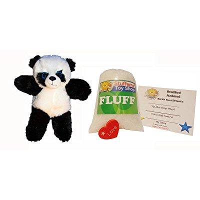 make your own stuffed animal mini 8 inch fluffy panda bear kit - no sewing required!