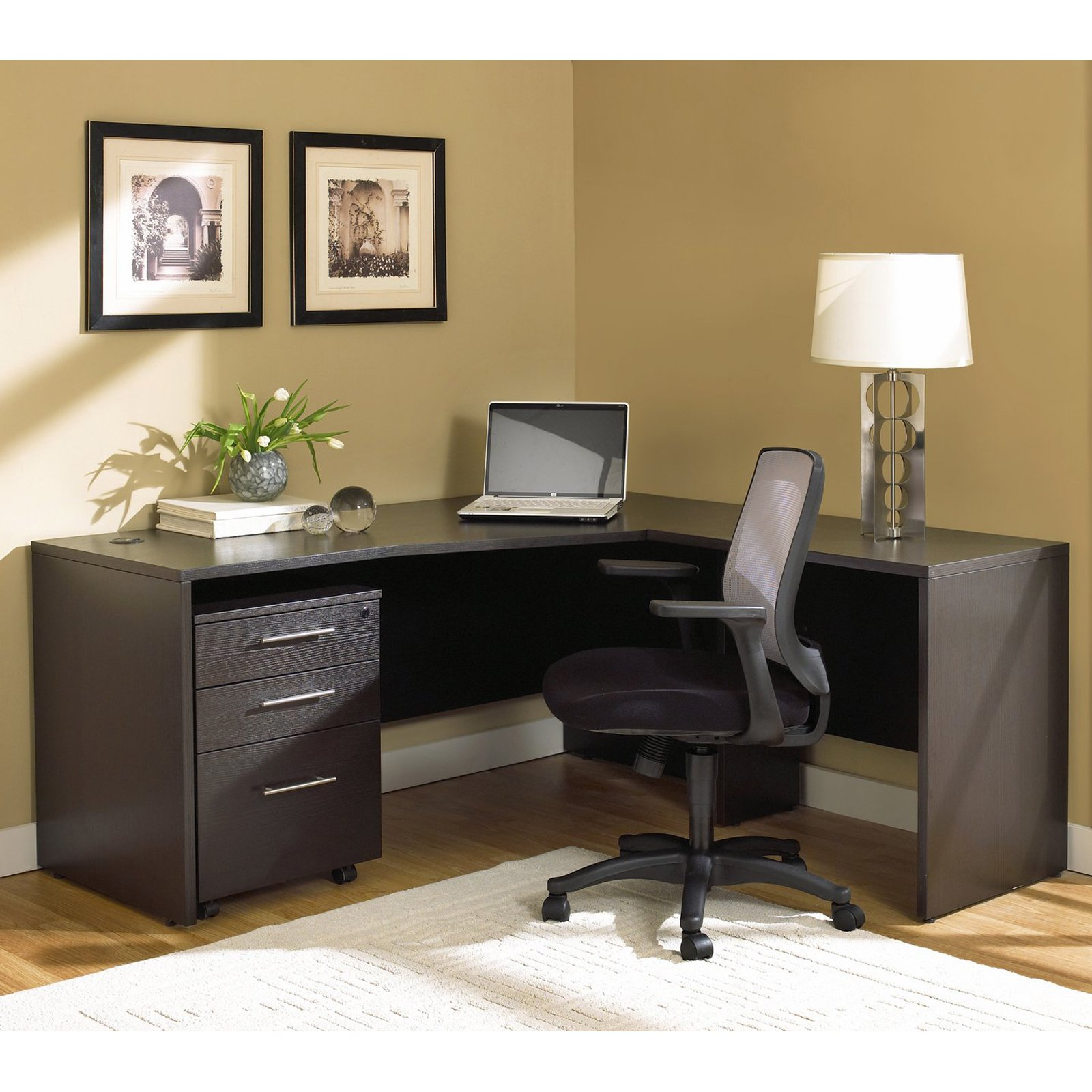 Jesper Office 100 Series L Shaped Desk With Mobile Pedestal   Cherry    Walmart.com