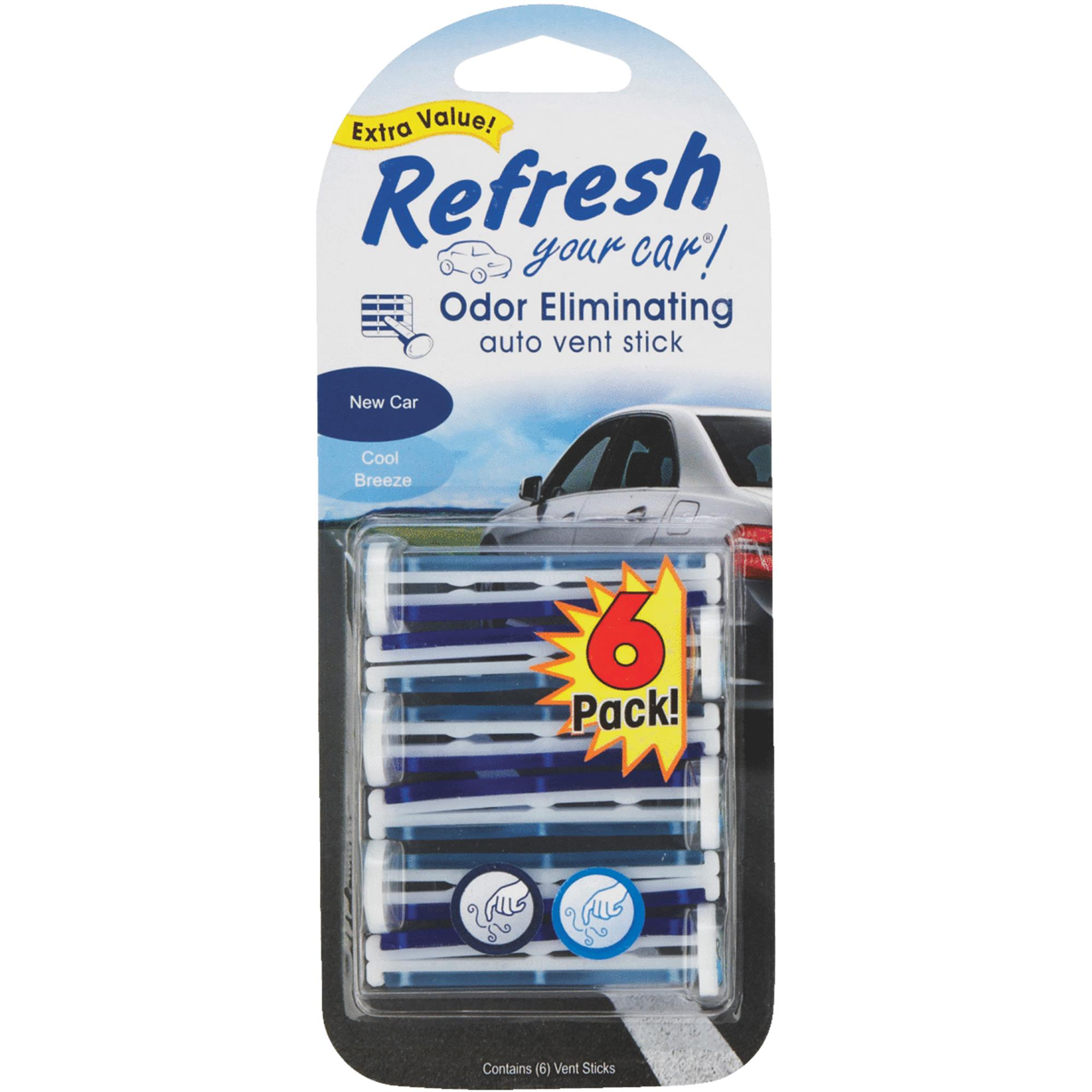 Refresh Your Car Vent Stick, 6-pack, New Car/Cool Breeze