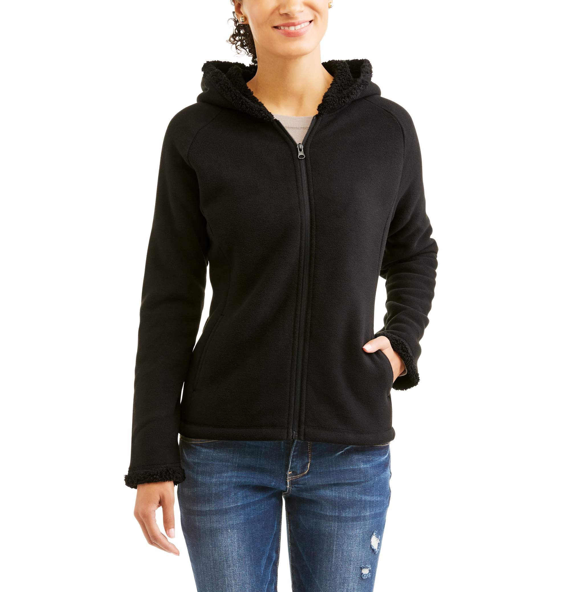 Faded Glory Women's Microfleece Hoodie With Cozy Sherpa Lining