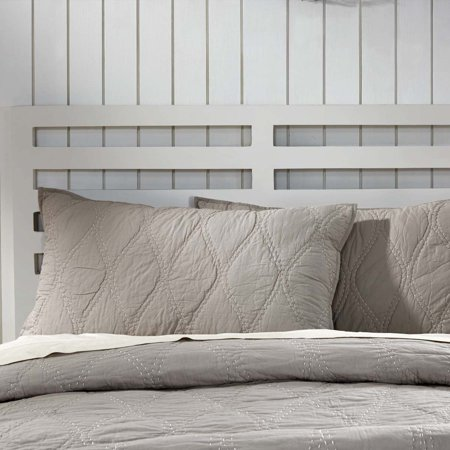 Ash Grey Farmhouse Bedding Harbour Cotton Hand Quilted Cambric Solid Color King (Canyon King Sham)