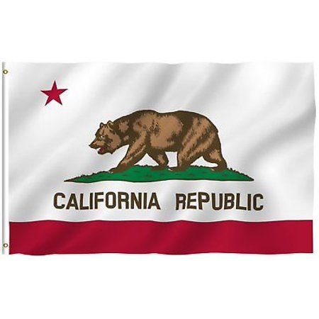 Nylon California State Flag - G128 - 3' x 5' Polyester California STATE FLAG Republic CA USA Grommets Bear America