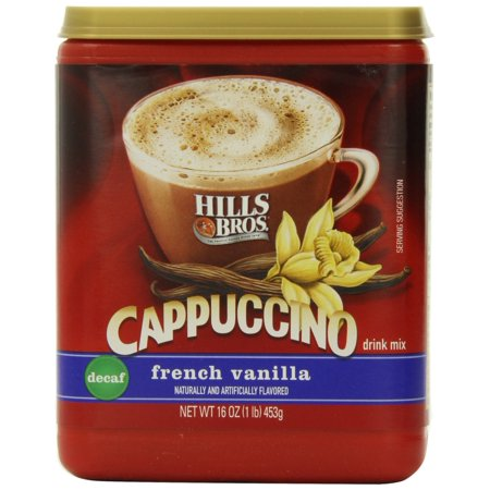 Hills Bros. Instant Cappuccino Mix, Decaf French Vanilla Cappuccinoâ??Easy to Use, Enjoy Coffeehouse Flavor at Home-Decadent Cappuccino with Sweet Notes and No Caffeine (16 Ounces) 16 Ounce (Pack of 1