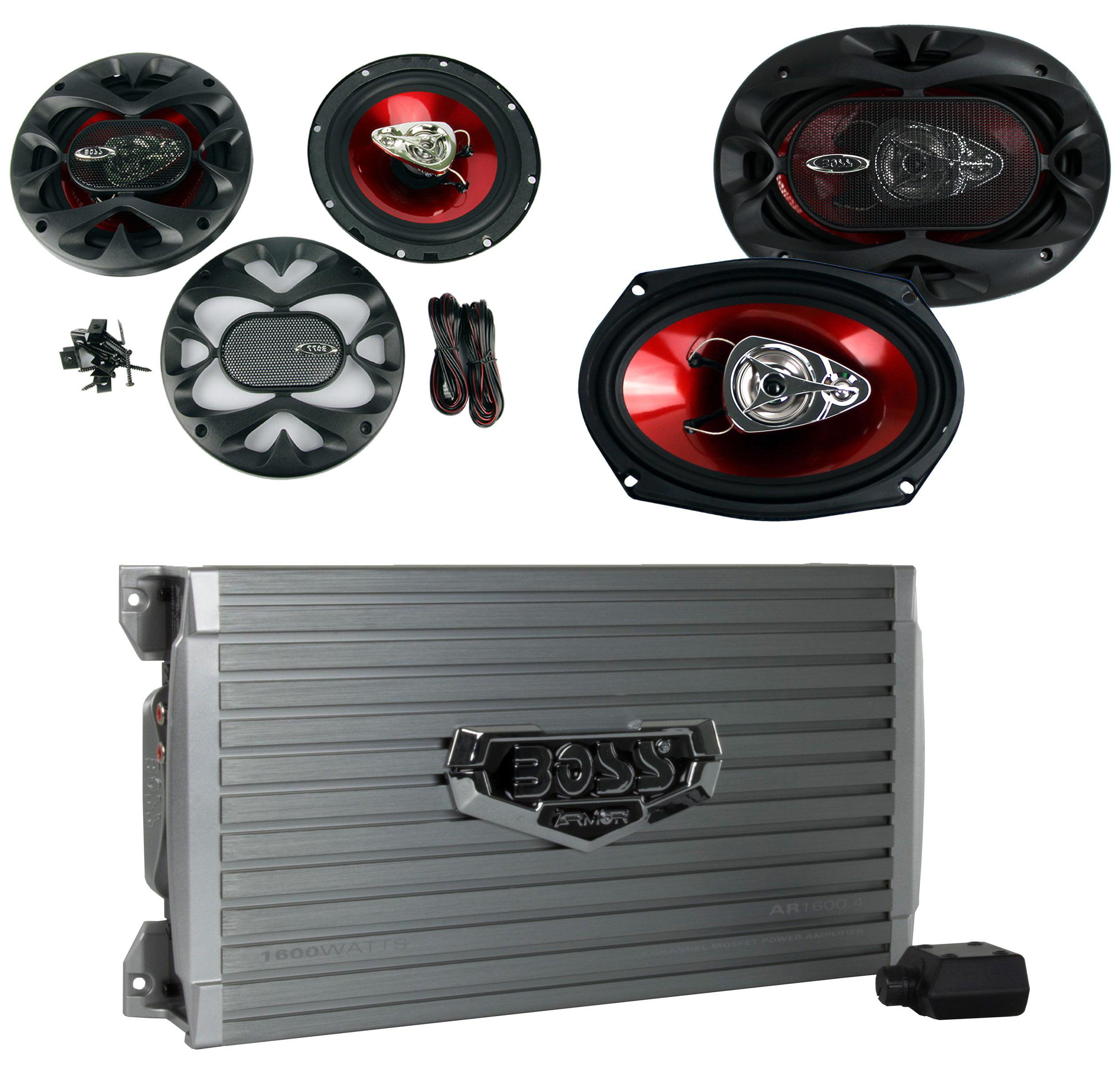 "BOSS AUDIO AR1600.4 1600W 4 Channel Car Amplifier Amp+Remote+ 6.5""/6x9"" Speakers"