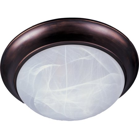 Marble Pressed Glass (Maxim Lighting Essentials - Three Light Flush Mount, Oily Bronze Finish - Marble Glass)
