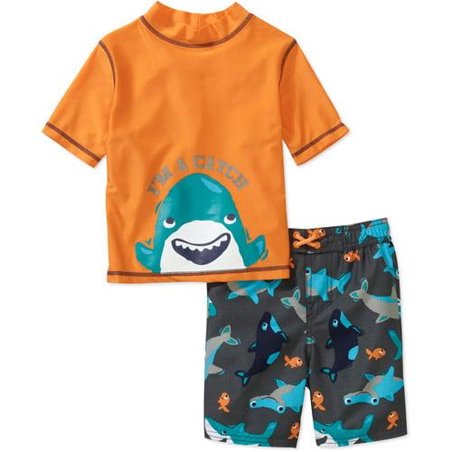 Child of Mine by Carters Baby Boys' 2-Piece Rash Guard and Swim Trunk Set