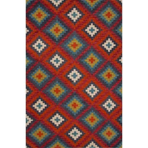 Contemporary Tribal Pattern Red Wool Area Rug (2x3)
