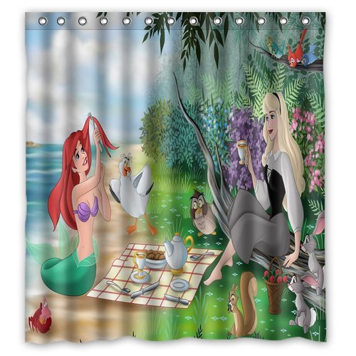 DEYOU The Little Mermaid Shower Curtain Polyester Fabric Bathroom Shower Curtain Size 66x72 inch
