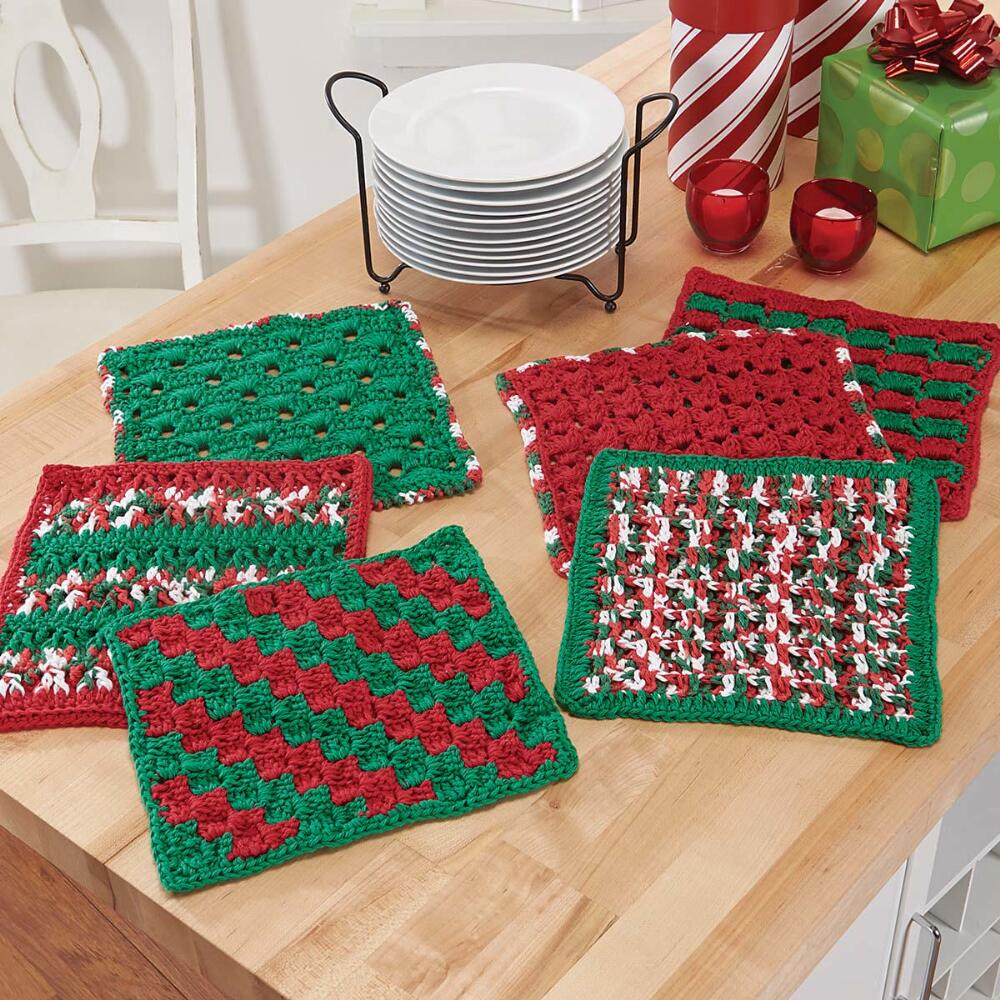 Village Yarn Christmas Cheer Washcloths Set Crochet Yarn Kit