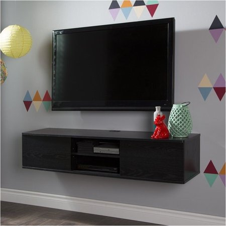 Pemberly Row 56″ Wall Mounted Media Console in Black
