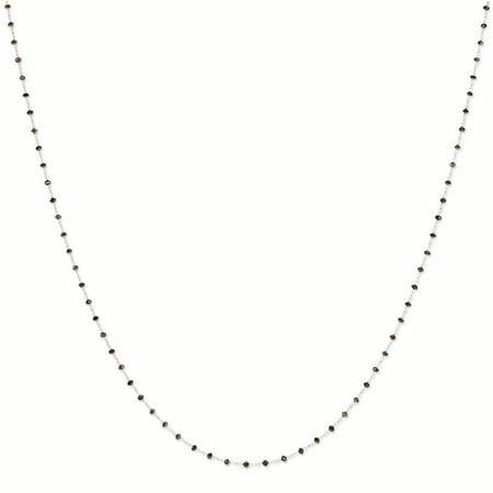 14K White Gold 2.5 MM Coffee Brown Diamond Briolette Necklace, 24