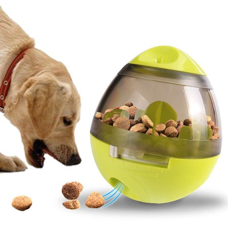 Interactive Pet Tumbler Leakage Food Dispenser Container Training Ball Dog Toy-Green Dog Green Gift Box