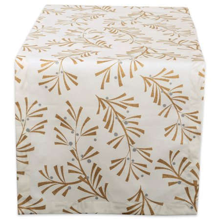 Gold Metallic Holly - DII 100% Cotton, Machine Washable, Printed Metallic Table Runner For Parties, Christmas & Holidays - 14x108