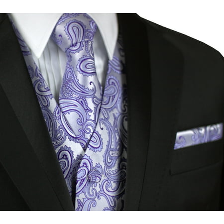 Italian Design, Men's Tuxedo Vest, Tie & Hankie Set in Lavender