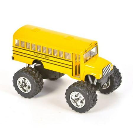 Big Wheels 5 Inch Metal Diecast Monster Truck School Bus  2 Pack