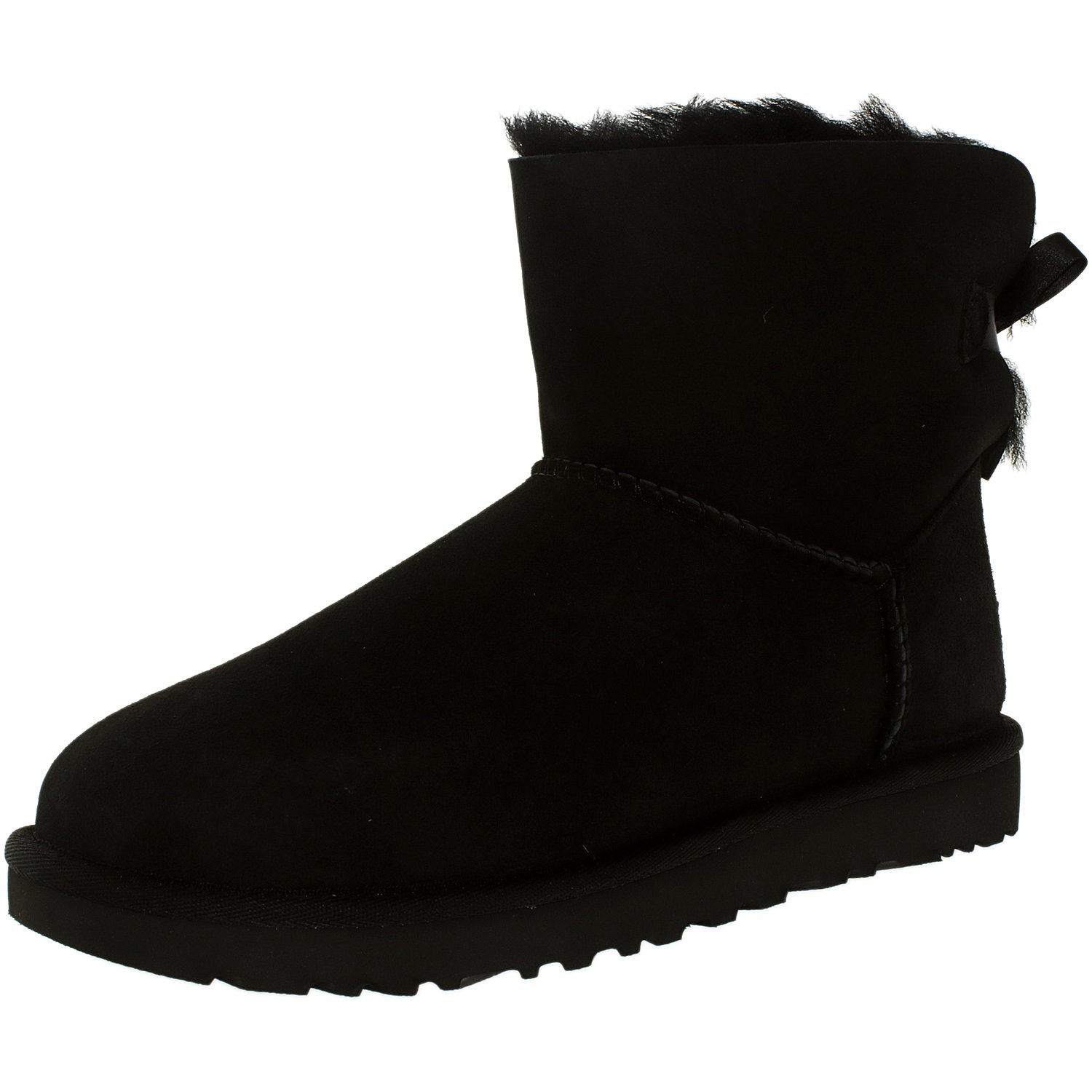 Ugg Women's Mini Bailey Bow Black Ankle-High Suede Boot - 8M