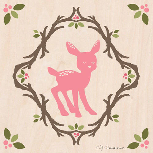 Oopsy Daisy - Enchanted Forest Fawn Canvas Wall Art 10x10, Jen Christopher