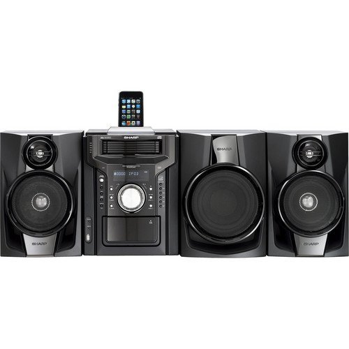 Sharp 350-Watt All-In-One Hi-Fi Audio Stereo Sound System With 5-Disc Multi-Play CD Changer, Cassette Deck, iPod/iPhone Dock, AM/FM Radio Tuner, Remote Control