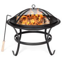 Best Choice Products 22in Steel Outdoor BBQ Grill Fire Pit Bowl w/ Screen Cover, Log Grate, Poker for Camping, Bonfire