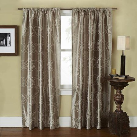 Ati Home Como Embroidered Rod Pocket Window Curtain 84 96 Inch Length Panel Pair