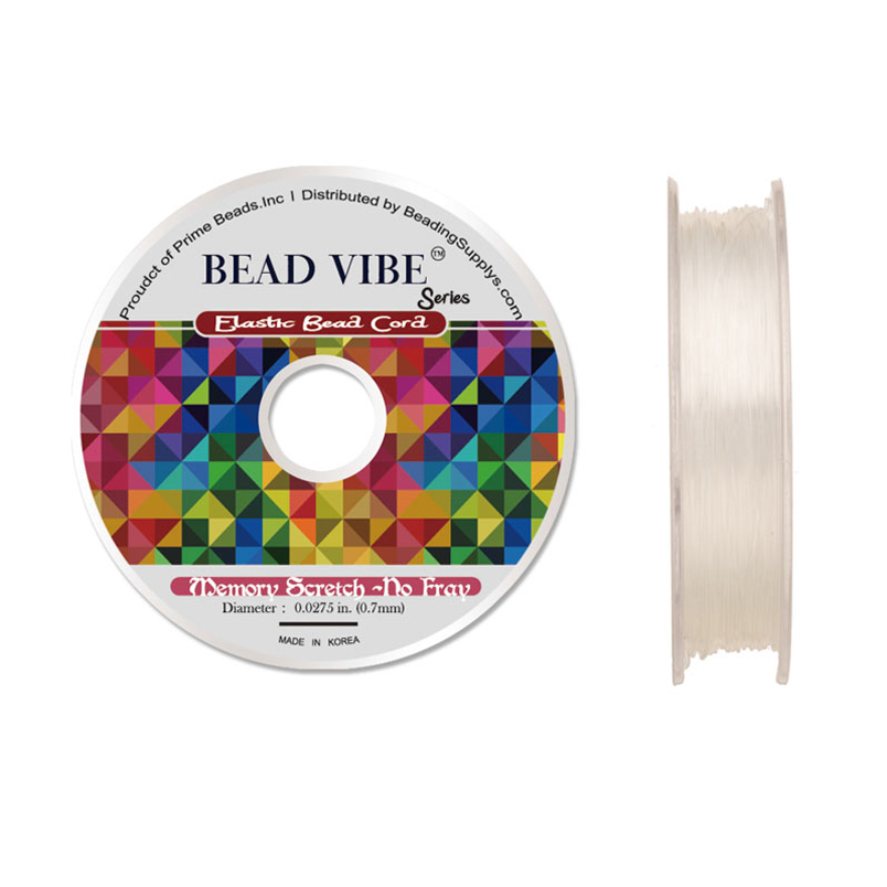 Elastic Bead Cord, Beadvibe Series Memory Stretch Non Fray, Clear 0.7mm Diameter 82ft