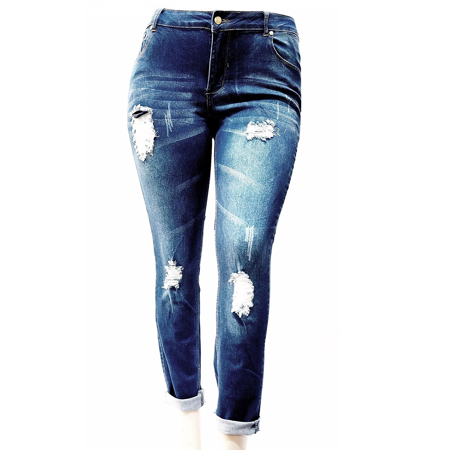 OMEGA Womens Plus Size Ripped Destroy Blue Denim Roll up Distressed Jeans Pants