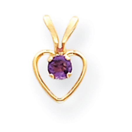 Number 15in Heart (14k Yellow Gold 15in Children's 3mm Amethyst Heart Birthstone Necklace)
