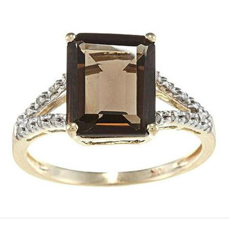 10k Yellow Gold Emerald-Shape Smoky Quartz and Split-Shank Diamond