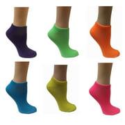 Womens 6 Pair Pack Neon Assorted Anklet Socks