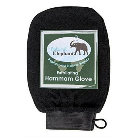 - Exfoliating Hammam Glove - Face and Body Exfoliator Mitt Pure Black by Natural Elephant