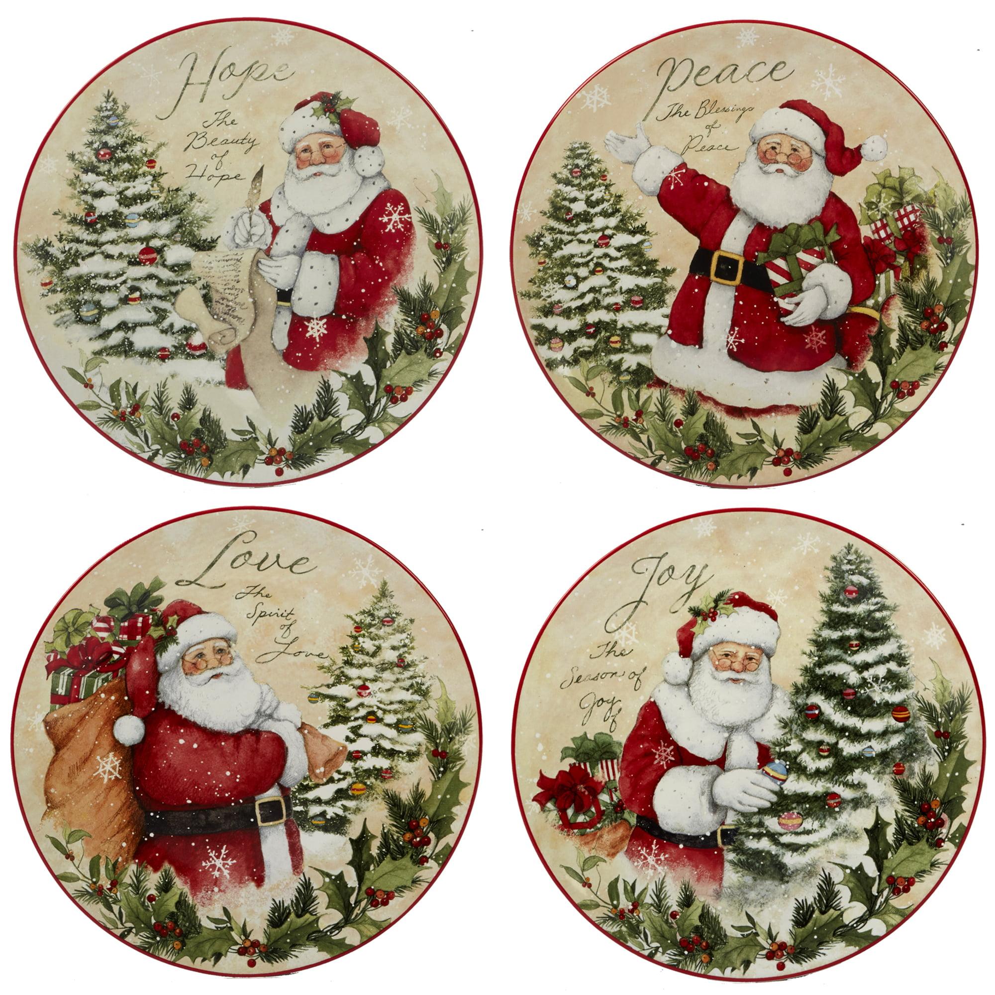Everyday Gibson Set of 4 Christmas Ornament Dessert Plates