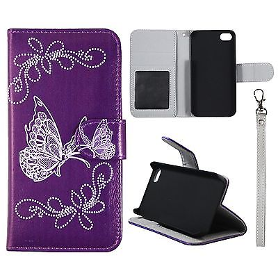 Wallet Grey Butterfly Purple For Iphone 4 4S Syn Leather Folio Dual Layer Interior Design Flip PU Leather case Cover Card Cash Slots & Stand  Cover