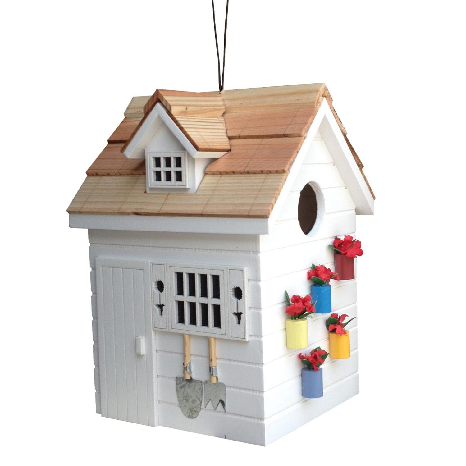 """7.75"""" Fully Functional Nestling Series White Wooden Potting Shed Outdoor Birdhouse"""