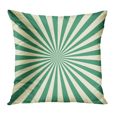ECCOT Blue Retro White and Green Sunburst Pattern 60S 70S Abstract Bright Burst Pillow Case Pillow Cover 16x16 inch