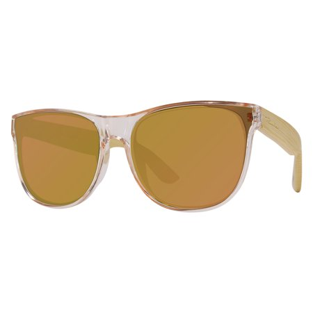 "Piranha ""Penelope"" Bamboo Shiny Crystal Pink Frame Sunglasses with Brown Lenses"